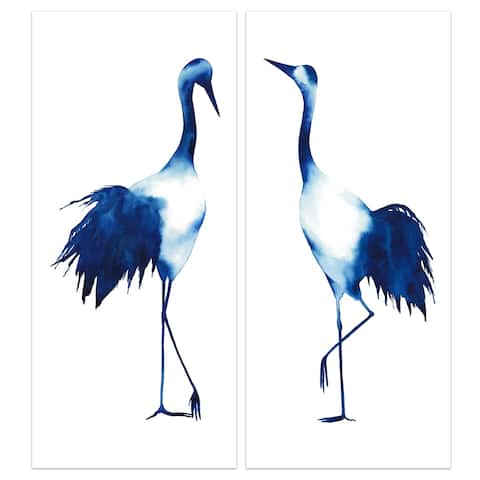 """""""Ink Drop Crane"""" Glass Wall Art Printed on Frameless Free Floating Tempered Glass Panel - Blue/White"""