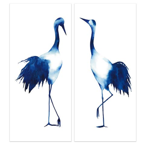 """Ink Drop Crane"" Glass Wall Art Printed on Frameless Free Floating Tempered Glass Panel - Blue/White"