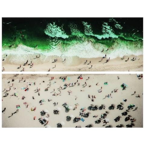 """High Tide & Beach Day"" Glass Wall Art - Grey/Green"
