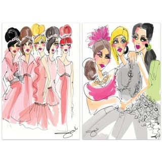 """""""Famous Housewives"""" Glass Wall Art Printed on Frameless Free Floating Tempered Glass Panel - Multi-Color"""