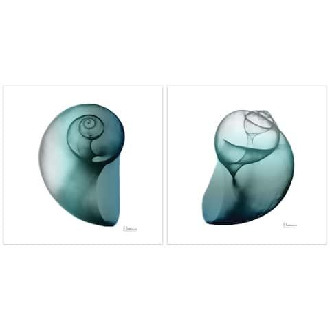 """Shimmering Snail I & II"" Frameless Free Floating Tempered Glass Panel Graphic Wall Art - Blue/White"