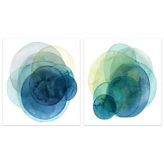"""Evolving Planets"" Abstract Wall Art Printed on Frameless Free Floating Tempered Glass Panel - Blue/White"