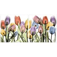 """Tulip Scape x-ray I & II"" Glass Panel Graphic Wall Art - Multi-Color"