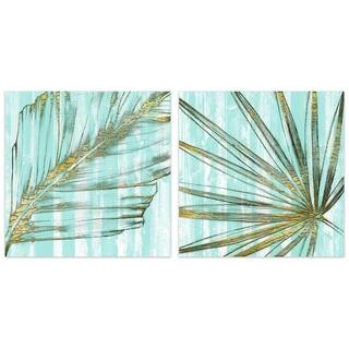 """Beach Frond in Gold"" Glass Wall Art Printed on Frameless Free Floating Tempered Glass Panel - Blue/Brown"