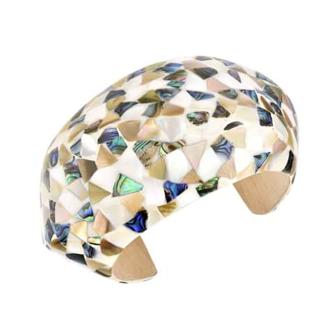 Handmade Retro-Inspired Mixed Inlaid Seashells Mosaic Wooden Adjustable Cuff Bracelet (Thailand)