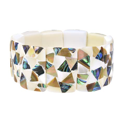 Handmade Contemporary Rectangles Mixed Seashell Mosaic Stretch Fit Bangle Bracelet (Thailand)