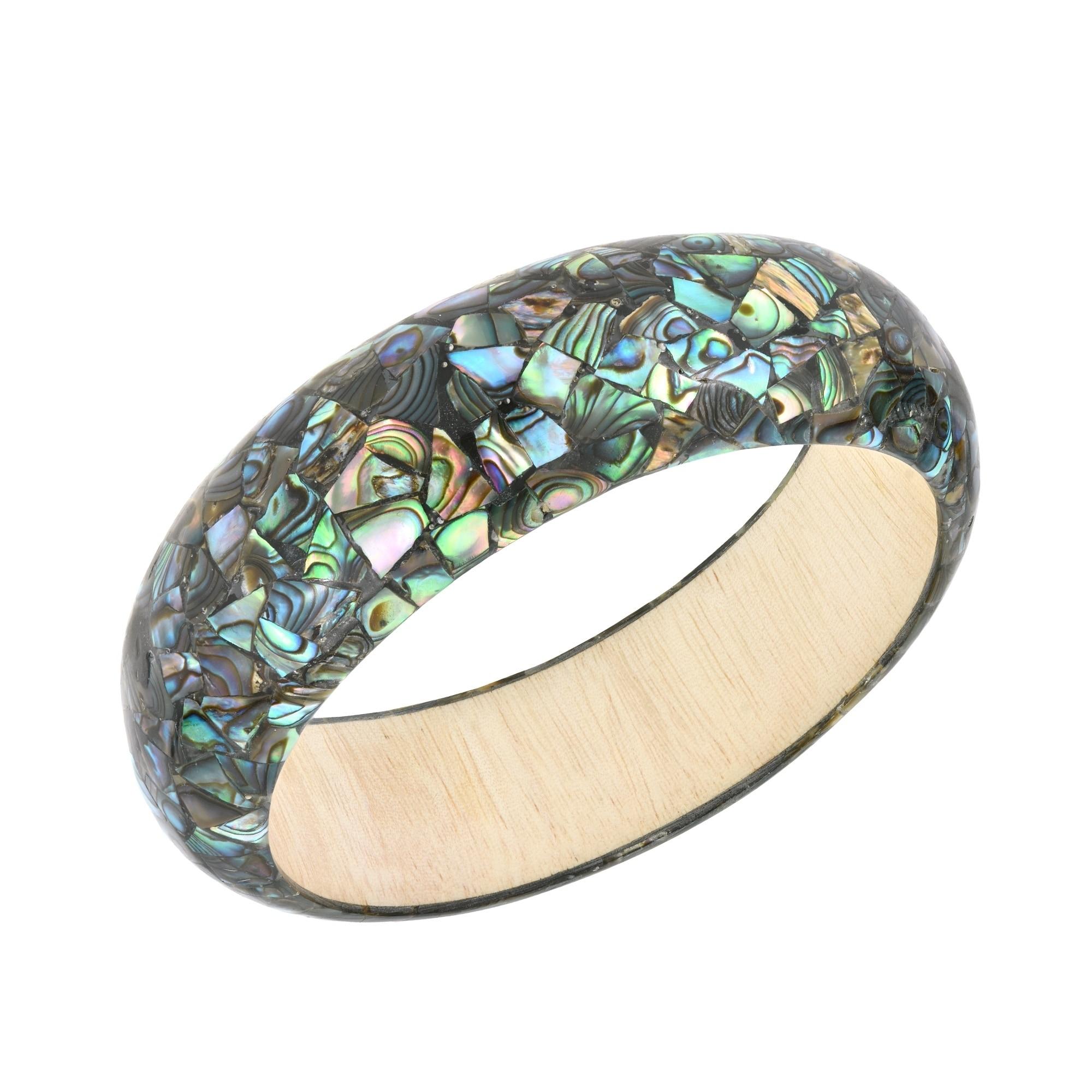 Vintage Unique Puka Abalone Mother Of Pearl Mosaic Inlaid Asymmetrical  Bangle Bracelet