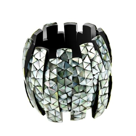 Handmade Tropical Chic Black Lip Shell Mosaic Chunky Stretch Fit Bangle Bracelet (Thailand)