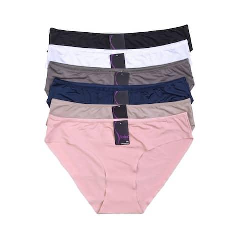 12-PAIRS Sofra Women's Solid Bikini Panty (LP7269PKX)