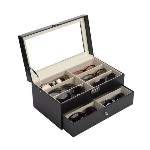 CO-Z 2-tier Lockable Black Leather Sun/ Eyeglasses Organizer with 12 Compartments