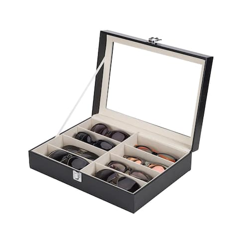 6c5c2cd26 CO-Z Lockable Black Leather Sun/ Eyeglasses Organizer Eyewear Case with 8  Compartments