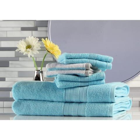 Freshee - 8-pack Bath Towel/Washcloth Set -2 Aqua/BT - Solid-2 Aqua Stripe,4 Aqua Solid