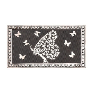 "Shedding Tree With Butterflies Rubber Pin Mat, Beautifully Copper Hand Finished, Durable Heavy Duty Doormat, 18"" L X 30"" W"