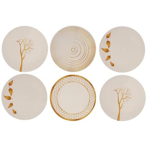 Melange 6-Piece Melamine Dinner Plate Set (Gold Nature Collection )