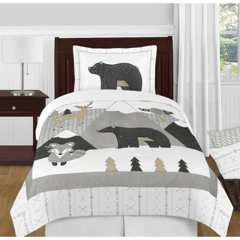 Sweet Jojo Designs Beige Grey Boho Mountain Animal Woodland Forest Friends Collection Unisex Boy or Girl 4-pc Twin Comforter Set