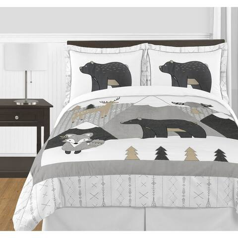 Sweet Jojo Designs Beige Grey Boho Mountain Animal Woodland Forest Friends Unisex Boy or Girl 3-pc Full/Queen Comforter Set