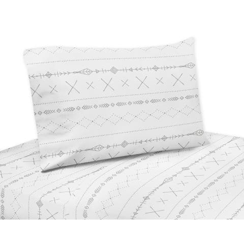 Sweet Jojo Designs Grey and White Boho Tribal Gray Woodland Forest Friends Collection 4-piece Queen Sheet Set
