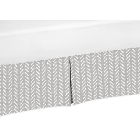 Sweet Jojo Designs Grey and White Boho Herringbone Arrow Gray Woodland Forest Friends Collection Queen Bed Skirt
