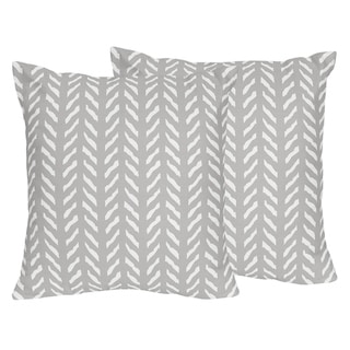 Sweet Jojo Designs Grey White Boho Herringbone Arrow Woodland Forest Friends 18-in Decorative Accent Throw Pillows (Set of 2)