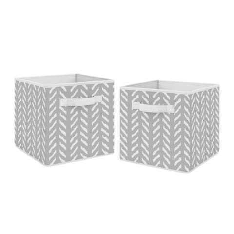 Sweet Jojo Designs Grey and White Boho Herringbone Arrow Woodland Forest Friends Unisex Boy or Girl Foldable Fabric Storage Bins