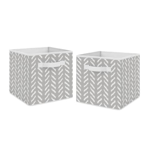Sweet Jojo Designs Grey and White Boho Herringbone Arrow Woodland Forest Friends Unisex Boy or Girl Foldable Fabric Storage Bins