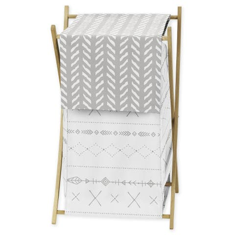 Sweet Jojo Designs Grey and White Boho Tribal Herringbone Arrow Gray Woodland Forest Friends Collection Laundry Hamper