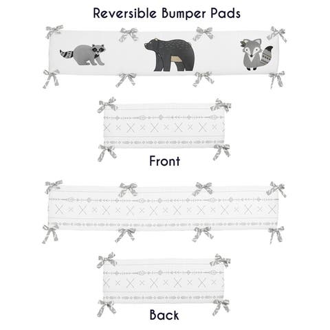 Sweet Jojo Designs Grey and White Boho Animal Gray Woodland Forest Friends Unisex Boy or Girl Collection Baby Crib Bumper Pad