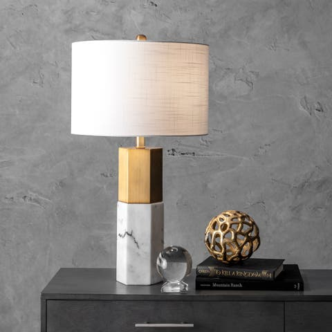 "Watch Hill 27"" Dawn Marble Monolith Linen Shade Table Lamp"