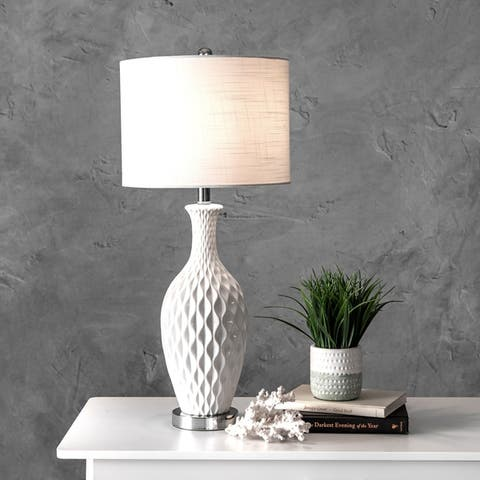 "nuLOOM 28"" Diamante Textured Ceramic Linen Shade Table Lamp"
