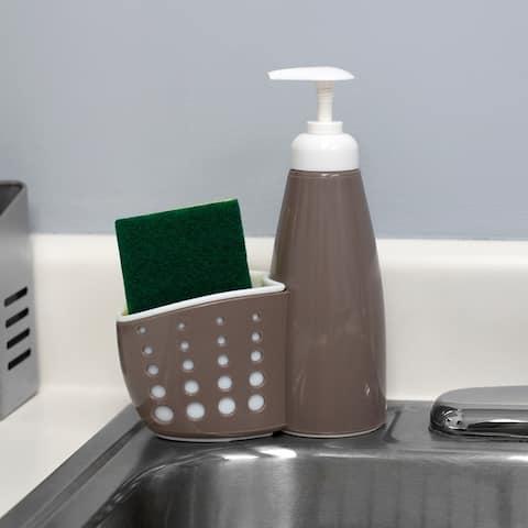 Soap Dispenser with Sponge Holder, Grey