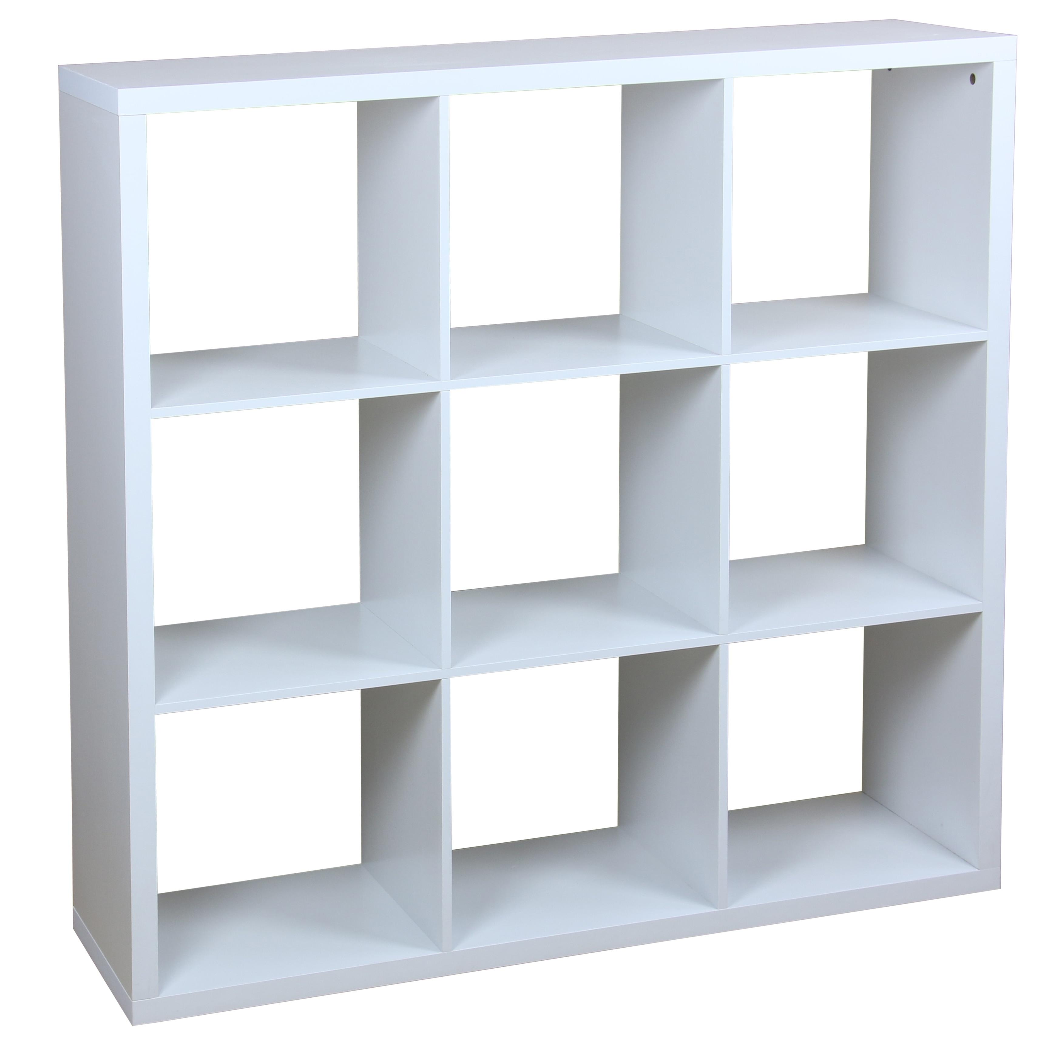 White Wood 9 Cube Open Storage Shelf