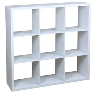 9 Open Cube Organizing Wood Storage Shelf, White