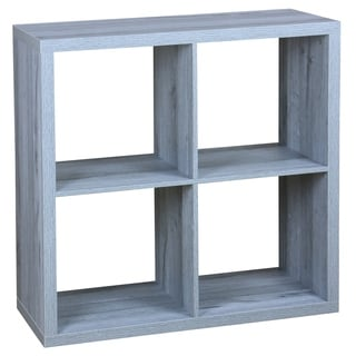 4 Open Cube Organizing Wood Storage Shelf, Grey
