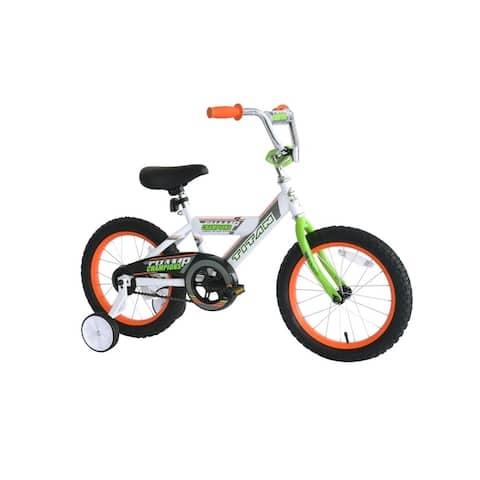TITAN Champions 16-Inch Boys BMX Bike with Training Wheels, White