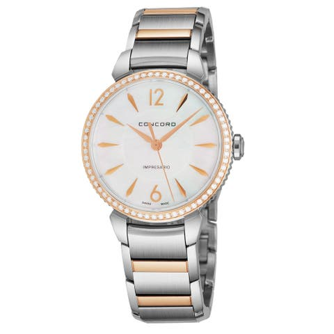 Concord Women's 0320320 'Impressario' Mother of Pearl Dial Stainless Steel/18K Rose Gold Diamond Swiss Quartz Watch