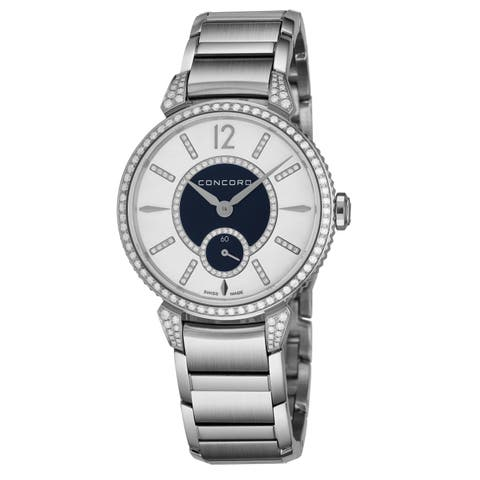 Concord Women's 0320384 'Impressario' Mother of Pearl/Blue Diamond Dial Stainless Steel Diamond Small Seconds Quartz Watch