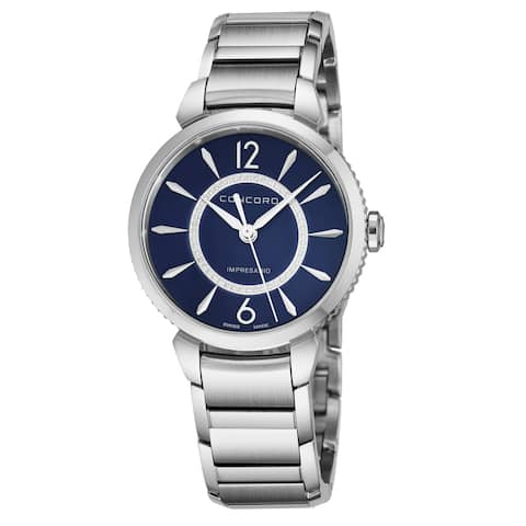 Concord Women's 0320387 'Impressario' Blue Mother of Pearl Diamond Dial Stainless Steel Swiss Quartz Watch