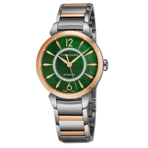 Concord Women's 0320388 'Impressario' Green Mother of Pearl Diamond Dial Stainless Steel/18K Rose Gold Swiss Quartz Watch