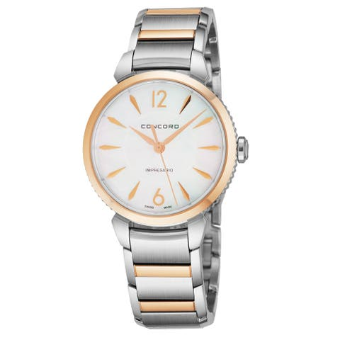 Concord Women's 0320318 'Impressario' Mother of Pearl Dial Stainless Steel/18K Rose Gold Swiss Quartz Watch