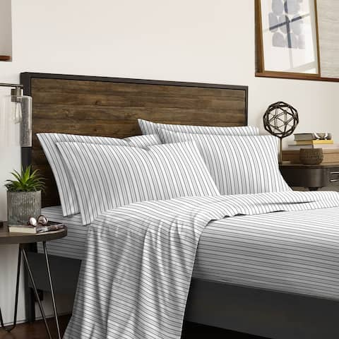 IZOD Flat Ticking Stripe Gray 6-piece Bed Sheet Set- 2 Extra Pillowcases