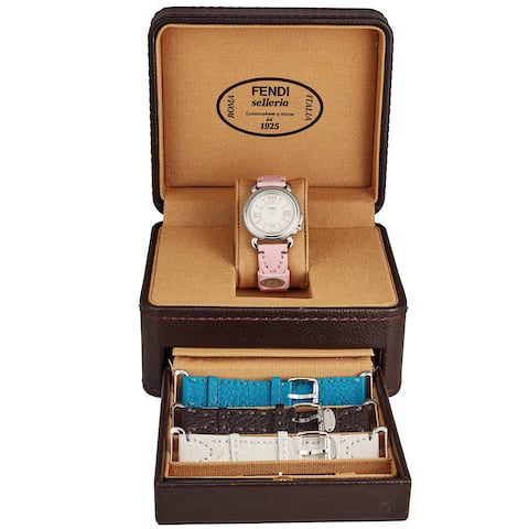 Fendi Women's F8010345H0SET10 'Selleria' Mother of Pearl Dial Pink/Brown/Teal/White Leather (Interchangeable Strap Set) Watch
