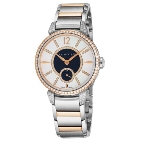 Concord Women's 0320386 'Impressario' Mother of Pearl/Blue Diamond Dial Stainless Steel/18K Rose Gold Diamond Quartz Watch