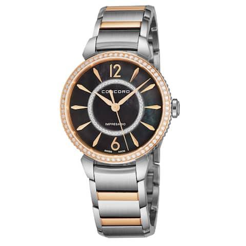 Concord Womens 0320336 'Impressario' Black Mother of Pearl Diamond Dial Stainless Steel/18K Rose Gold Diamond Swiss Quartz Watch