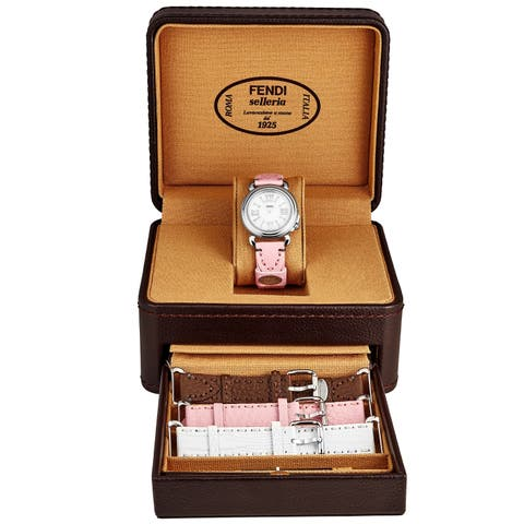 Fendi Women's F8010345H0SET11 Selleria Mother of Pearl Dial Pink/Brown/Pale Blue/White Leather (Interchangeable Strap Set) Watch