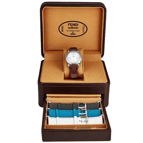 Fendi Women's F8010345H0SET12 'Selleria' Mother of Pearl Dial Teal/White/Grey/Wine Leather (Interchangeable Strap Set) Watch
