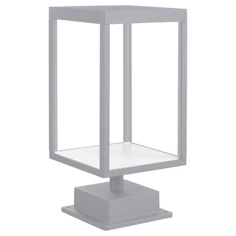 Reveal 1-light Satin Gray LED Outdoor Rectangular Pier Mount, Clear Glass