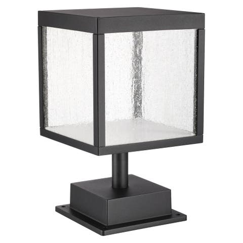 Reveal 1-light Black LED Outdoor Square Pier Mount, Seeded Glass