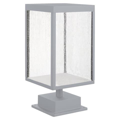 Reveal 1-light Satin Gray LED Outdoor Rectangular Pier Mount, Seeded Glass