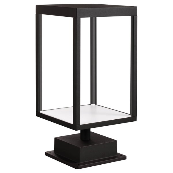 Reveal 1-light Black LED Outdoor Rectangular Pier Mount, Clear Glass. Opens flyout.