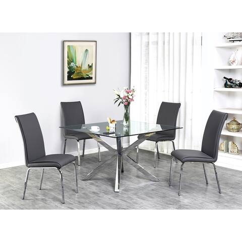Best Quality Furniture Contemporary Glass 5-Piece Dining Set w/ Stainless Steel Legs